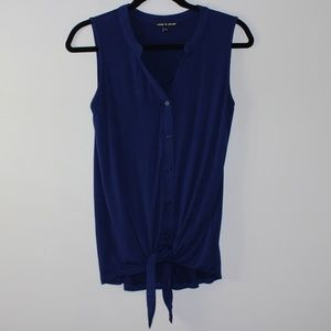 Cable & Gauge Blue Sleeveless Front Tie Top